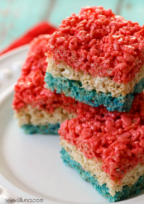 Red, white, and blue rice krispie treats for the 4th of July
